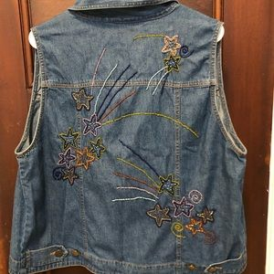 Shooting Star Beaded Jean Vest